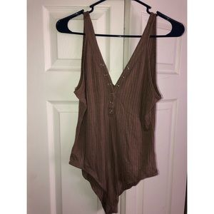 Tops - Brown Button Bodysuit- Size M
